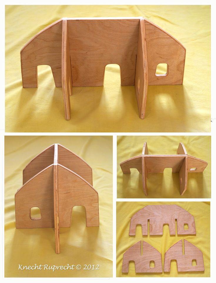 Tragbares Puppenhaus mit Laubsäge aus Brettchen basteln.