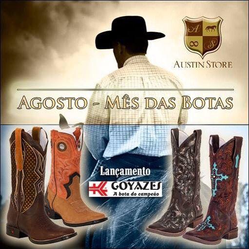 Goyazes - A Bota do Campeão é destaque no mês das Botas Austin Store. Confira todos os modelos em nosso site: ➡️www.austinstore.com.br. ⏩#botatop #fazenda #austinstore #abqm #rodeiobrarretos2015