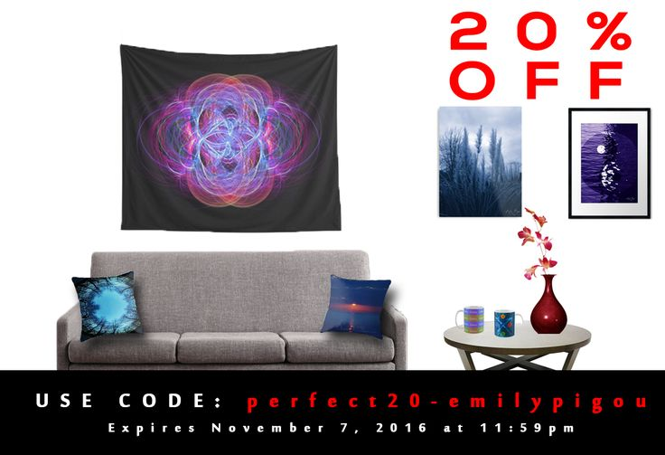 20% OFF EVERYTHING in my store. USE : perfect20-emilypigou Expires November 7, 2016 at 11:59pm #redbubble #discount #homedecor #home #decor #emilypigou #sales #November #NovemberSales #20percentdiscount #walltapestry #metalprint #framedart #photography #gaming #coffeemugs #throwpillows #pillows #livingroom #kids #gaming #gaminggifts #gamer #giftsforhim #giftsforher #tshirts #yinyang  #minicoopermug #minicooperfans #fractal