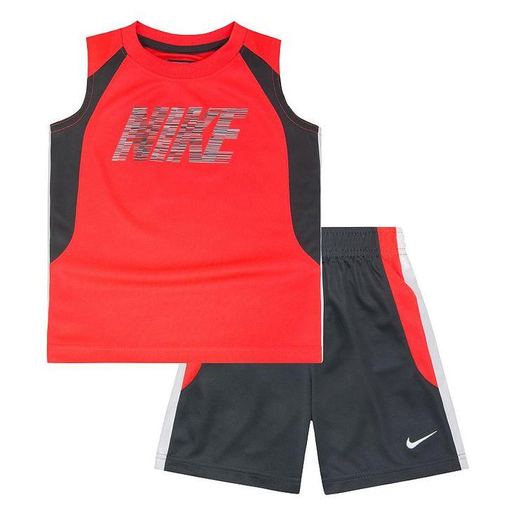 Toddler Boy Nike Colorblock Muscle Tee & Shorts Set | Boys ...