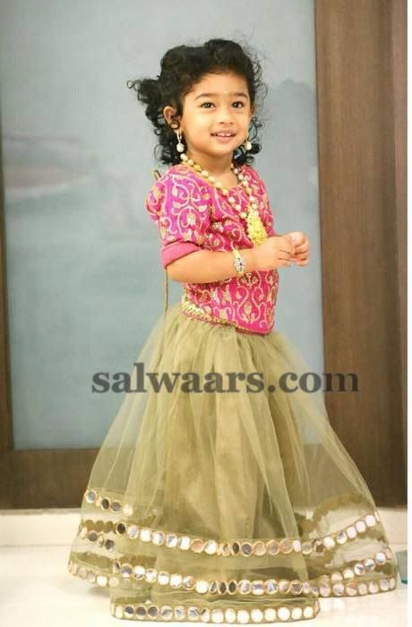 Baby in Mirror Work Lehenga - Indian Dresses