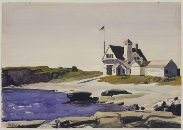"urgetocreate: "" Edward Hopper, Coast Guard Station, Two Lights, Maine, 1927, Watercolor, gouache and charcoal on paper """