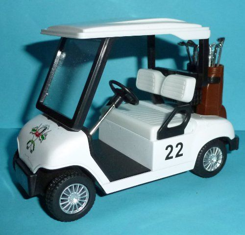 """Golf Cart Pull Back Car Toy Golf Carts with Clubs. Golf bags colors will vary. 4 1/2 in. Pull Back Golf Cart! Not for children under 3. Long, 3"""" tall. Pull Back Golf Cart."""
