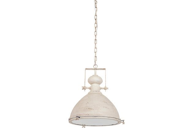 Weather vane style pendant light shade with off white finish hanging from chain