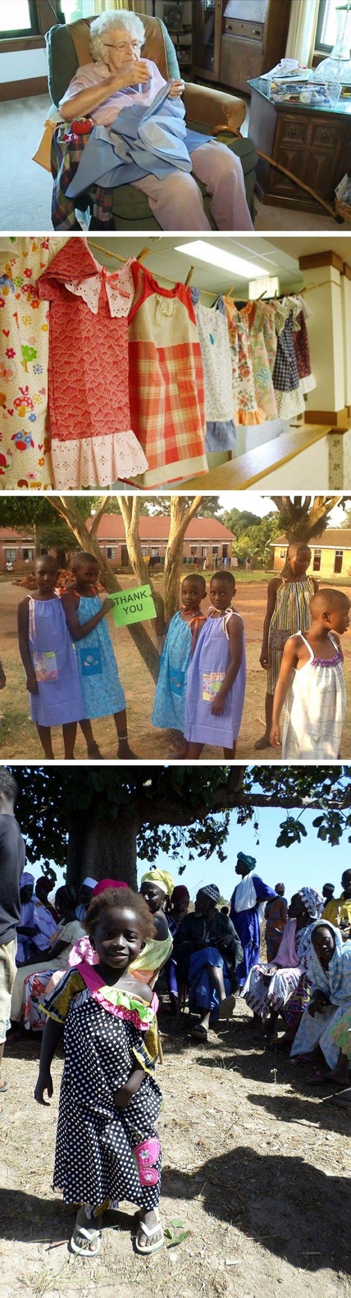 99 Yaşındaki Bu Kadın Afrikadaki Çocuklar İçin Günde Bir Elbise Dikiyor. www.4finite.com