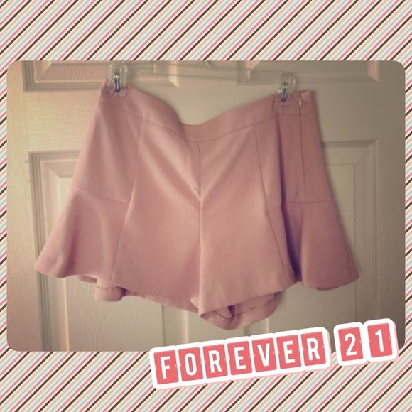 Forever 21 nude shorts  Really flattering. Worn one time. In excellent condition. Side zipper. Forever 21 Shorts Skorts
