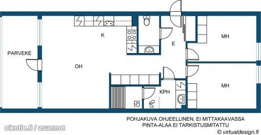 Läpitalon kolmio parvekkeella ja saunalla (80m2) # pohjapiirros