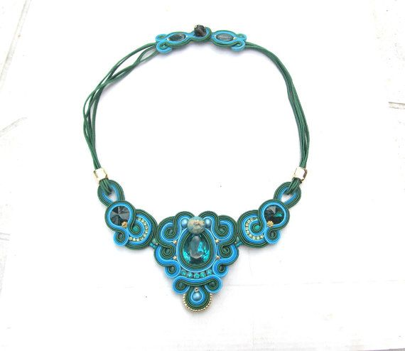 Statement Necklace Blue and Emerald Green by GiSoutacheJewelry