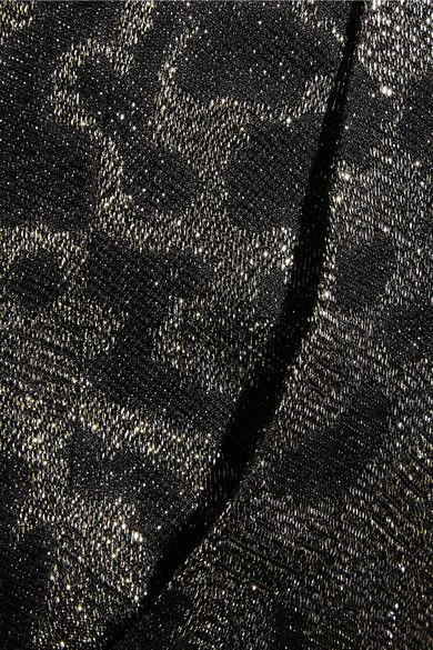 Black, gold and silver leopard-jacquard Concealed button, hook and zip fastening at front 42% silk, 41% rayon, 17% polyester; lining: 90% silk, 10% elastane Dry clean
