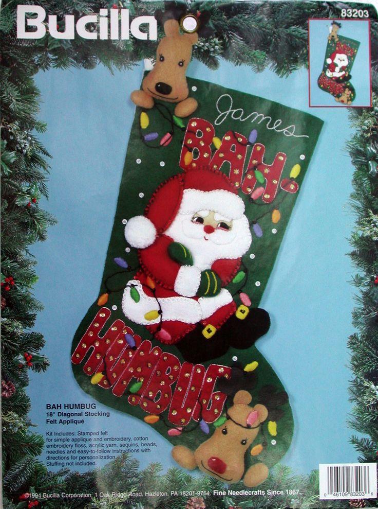 "Bah Humbug 18"" Bucilla Felt Christmas Stocking Kit #83203 - FTH Studio International"