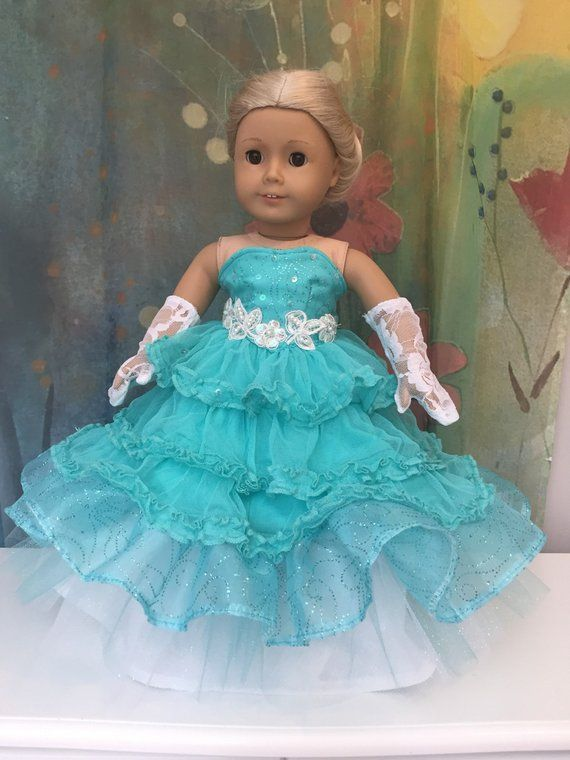 Turquoise Satin /& Lace Party Dress fits American Girl Doll