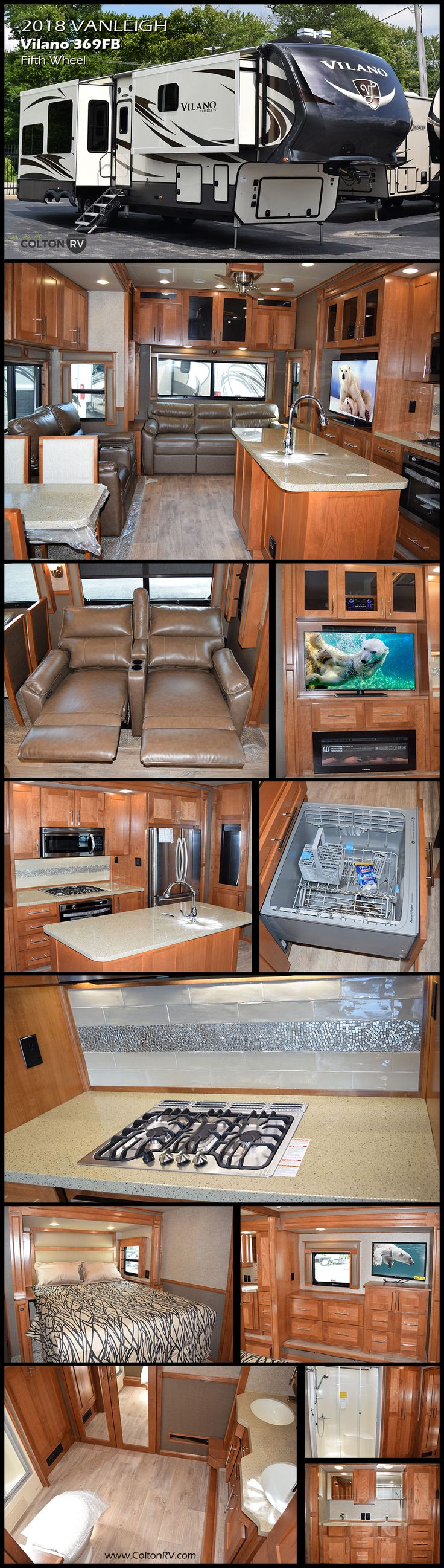 One of the abundant advantages to being a Vilano customer is getting everything a luxury fifth wheel offers without the price tag. This 2018 VANLEIGH VILANO 369FB Fifth Wheel presents all the elements one might need for an active weekend away or an extended vacation getaway. Model 369FB features quadruple slides, one and a half baths, 18 Cu Ft residential fridge, fireplace and so much more! You will enjoy the large master bathroom with double sinks, shower, toilet plus a full front wall…