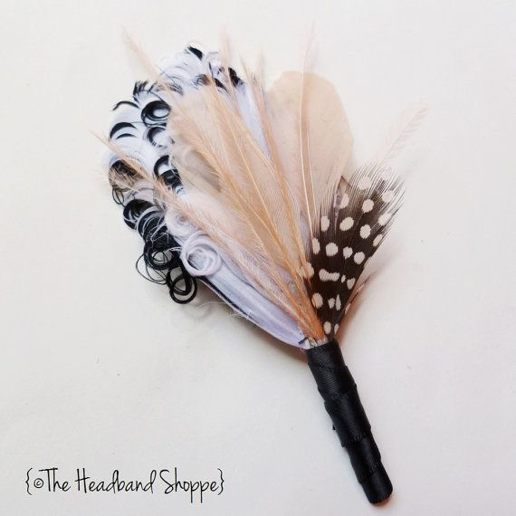 Groomsmen Wedding Feather Boutonniere in by TheHeadbandShoppe, $15.00