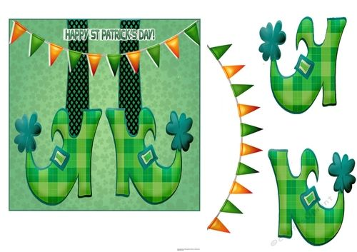 picture relating to Leprechaun Feet Printable identified as Content st Patricks Working day Card Models upon Craftsuprint Pleased