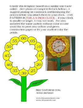 FLOWER CLOCK FOR DECORATION AND TEACHING TIME - TeachersPayTeachers.com