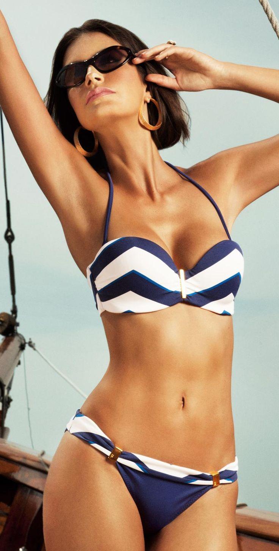 Verano High 2013 Nantucket Blue Chevron Bandeau Bikini