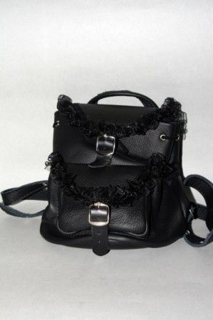 Női bőr hátizsák, csipkével - women's bag
