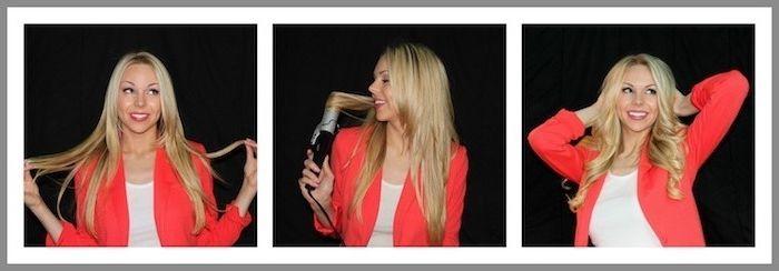 lange haare stylen, frisur selber machen, blonde haare, dicker lockenstab, roter blazer