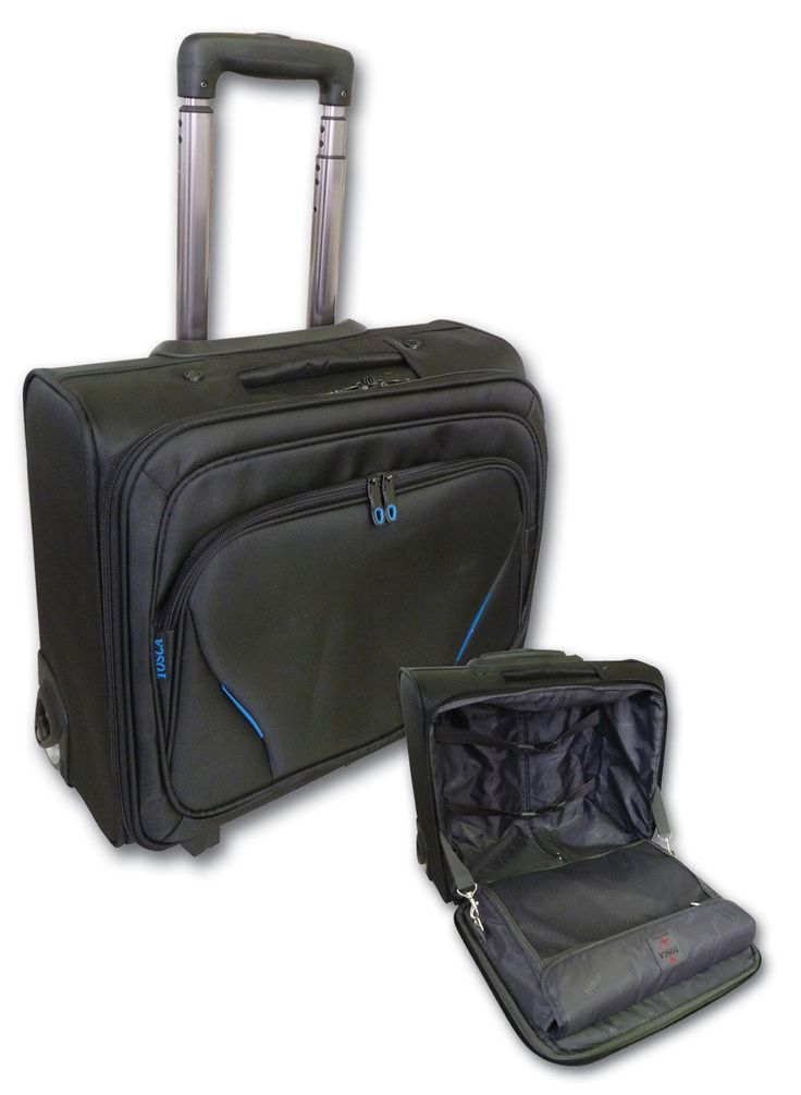 "Tosca Elegant Overnight Laptop Trolley -15.6"" @ R940  Specs. 3.5 kg, 43 x 22 x 40cm  Code:T3001LL50  Features: Internal Laptop Compartment, Front Pocket Orginizer, Push Button Trolley, Inline Skate Wheels, 420D Jacquard Material, Clips To Hold Front Panel  Buy securely online: https://www.luggageladies.com All orders delivered within 3-4 working days."