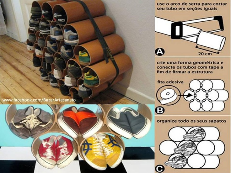 Con rollos de cart n una zapatera organizar zapatos for Como hacer una zapatera