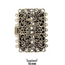 Rhodium Plate, Old Palladium Color, Filigree Rectangle, Push-Pull Clasp, 7-strand, 44x27mm, (1 clasp)    Land of Odds - Jewelry Design Center  www.landofodds.com