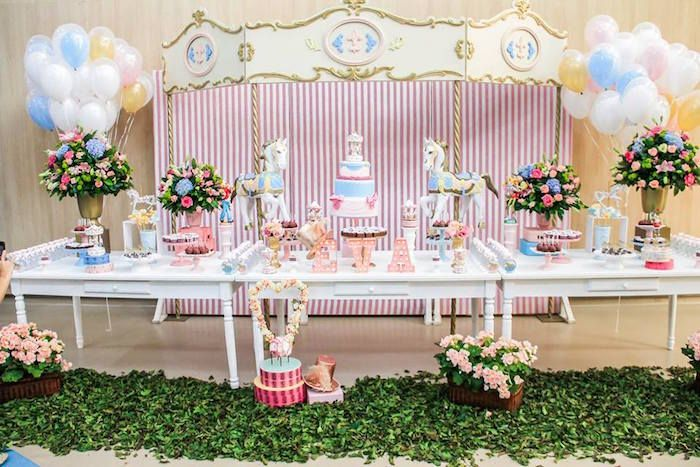 Partyscape from Vintage Chic Carousel Birthday Party at Kara's Party Ideas. See more at karaspartyideas.com!