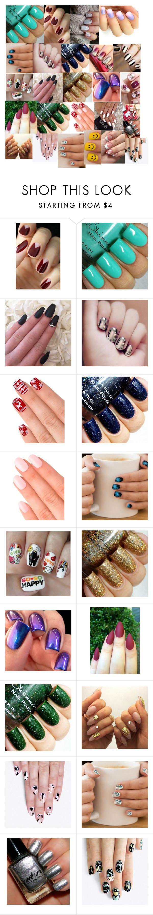 """""""Comment, Which one is your favorite?"""" by emmakgreene ❤ liked on Polyvore featuring beauty, Elegant Touch, Nail Pop and alfa.K"""