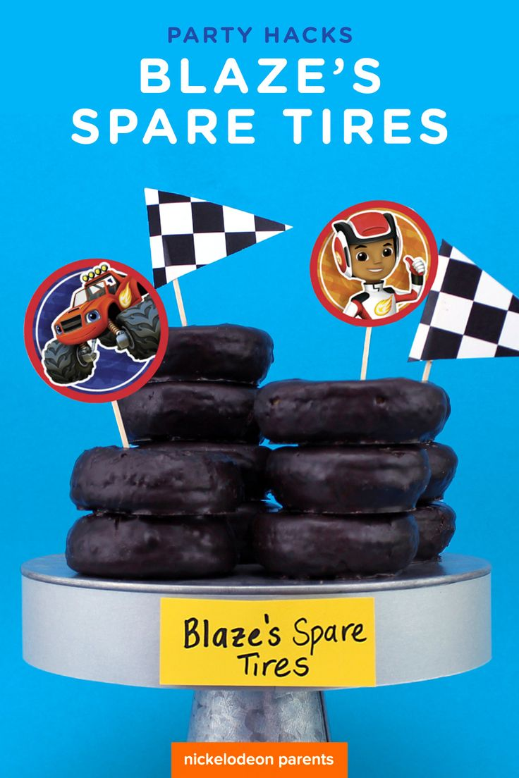 Got a spare minute? These donut tires are perfect party snack for your Blaze fan! Simply buy store-bought chocolate frosted donuts and platter them with Blaze and the Monster Machine's treat toppers! Serve up at your child's Blaze birthday party.