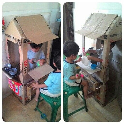 #diy #cardboard #food #shop for kids. They are really love it