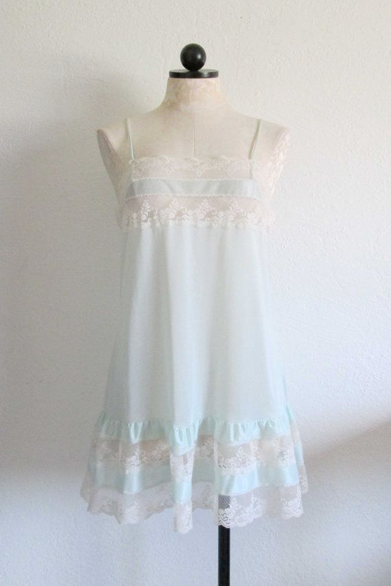 Mint Green Babydoll Vintage Lingerie by VintageHagClothing on Etsy