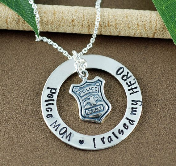 Proud Police Mom Necklace, I raised my HERO Personalized Necklace, Police Mom Jewelry, Gift for Police Mom, Police Shield Jewelry