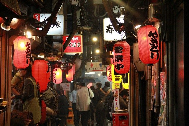 """Memory Lane (aka """"Piss Alley"""") - It's a narrow alley that's bursting with little restaurants serving a range of food, from traditional yakitori to the more adventurous pig testicles and frog sashimi.  - GETTING THERE: Take the west exit at Shinjuku station. Look for signs pointing to Memory lane, it's less than 5 minutes' walk."""