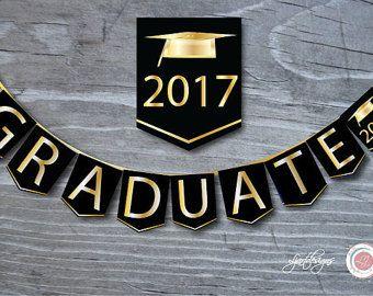 Bandera de graduación negro y oro digital clase de graduado
