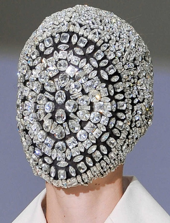Mask fully decorated of crystals by Maison Martin Margiela