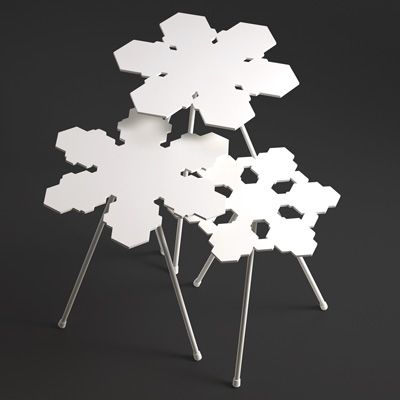Snowflakes is a small, useful table which can be combined by using several by a sofa or just one by the bed. The table is available in three different heights in order to increase the possible variations and usages. Every table top is unique. The architectural firm of Claesson Koivisto Rune created the Snowflakes concept. Offecct.