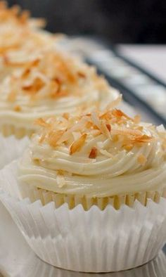 Pineapple-Coconut Cupcakes with Honey Cream Cheese Frosting
