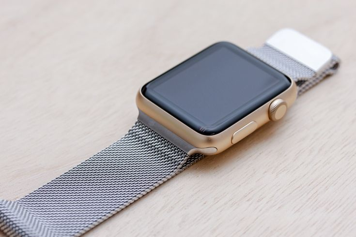 Apple Watch Sport Gold Case with Milanese Loop.