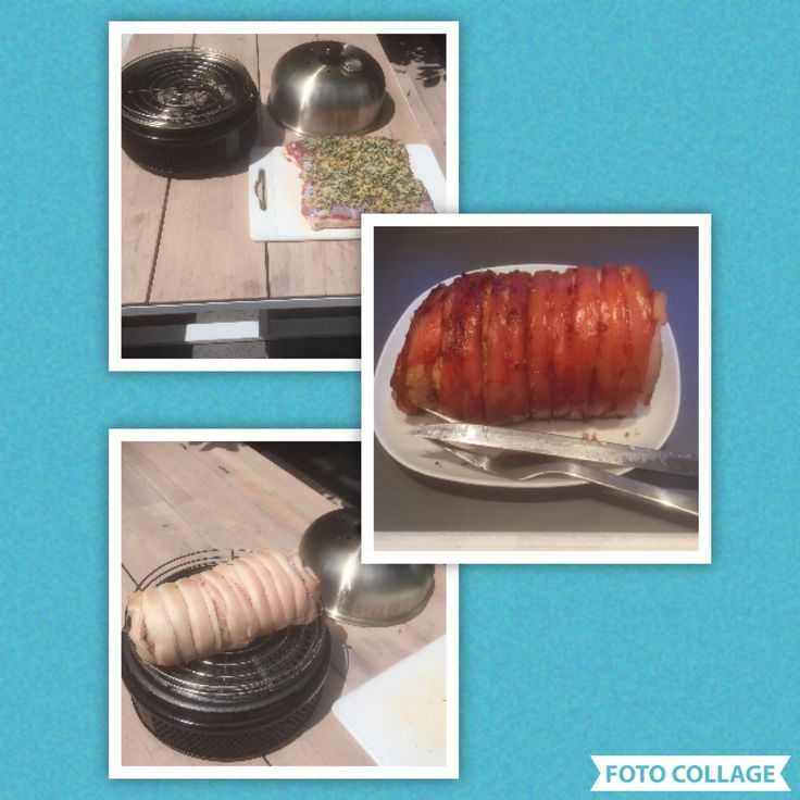 Italiaanse Porchetta van de Cobb Neem stuk buikspek met zwoerd van ongeveer max 1,5 kg, groter past niet op de Cobb. Kerf met een scherp mes (bv stanleymes) de zwoerd in en wrijf in met zout. Draait het vlees om met de zwoerd naar beneden. Hak verse rozemarijn, salie, venkelzaad,pijnboompitten en knoflook fijn en bedek het vlees hiermee. Oprollen en vastmaken met slagerstouw. Leg ongeveer 5 briketten op het rooster en leg de porchetta als de kooltjes mooi grijs zijn op het grilrooster…