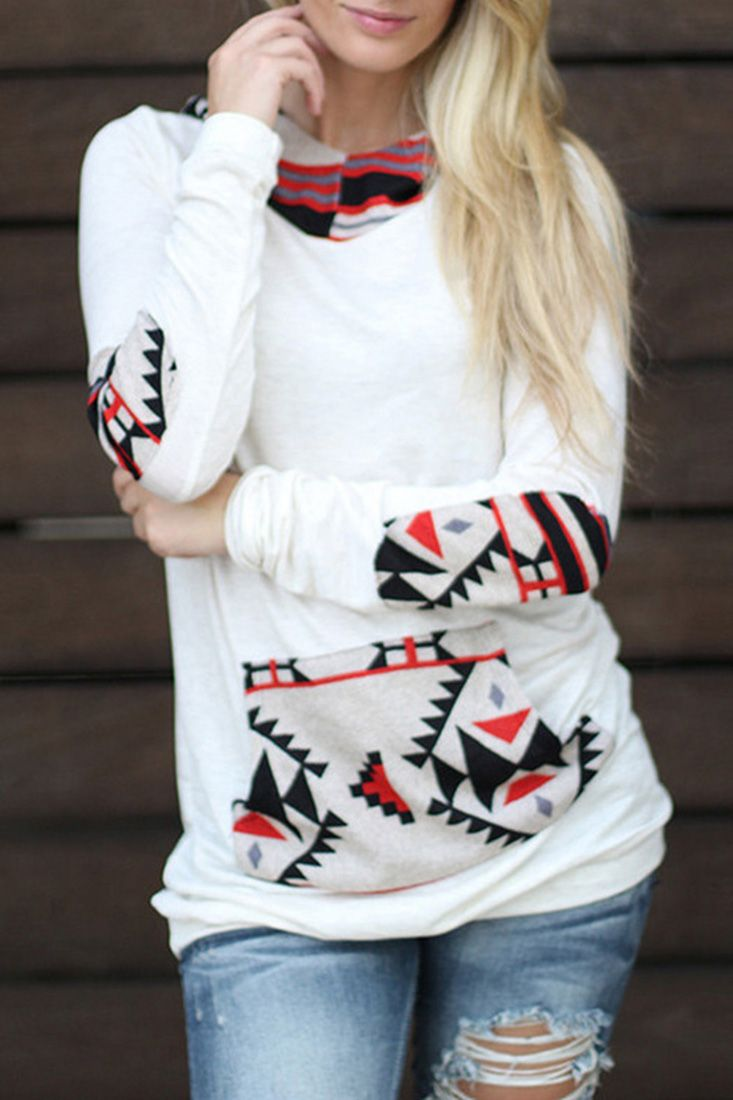 The hooded sweatshirt is featuring geometrical print, patch kangaroo pocket, elbow patch and long sleeve.