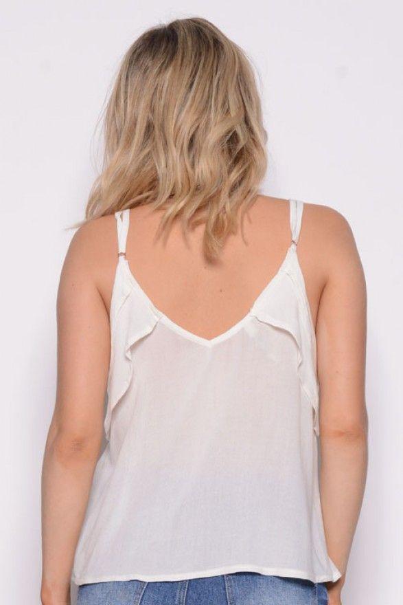 Musculosa Crepe Estampa Florcitas c/tiras cruzadas - Mujer | Embrujo Jeans