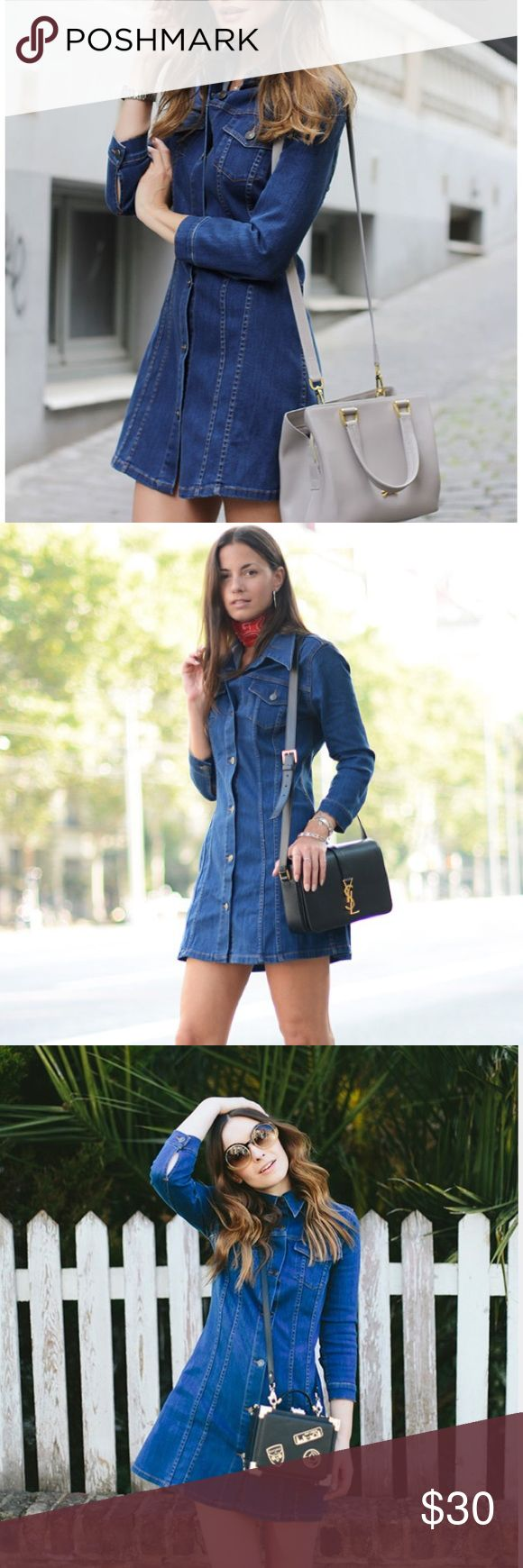 Zara long sleeve denim mini dress - New w/tags Brand new with tags Zara medium wash denim mini dress. Perfect for spring or wear with tights in the fall and winter. Has slight stretch and the denim is thicker than most denim dresses. Fits like a dream. Zara Dresses Mini