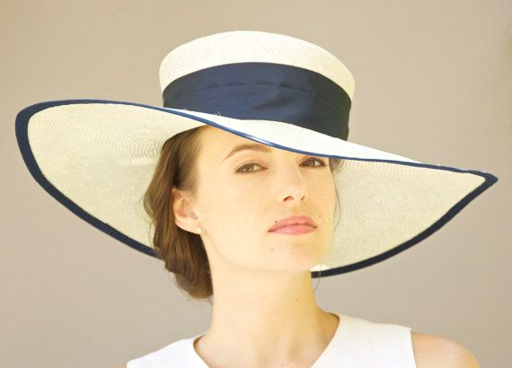 Wide Brim Hat Cream Off White Navy Blue By Awarddesign 125 00 Love Cb I Hats Pinterest And Wedding