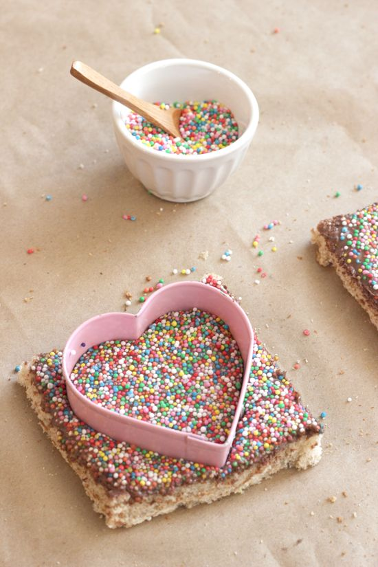 Toast + Nutella + sprinkles!