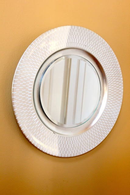 Project City: Make your own mirrors using plate chargers and candle mirrors!