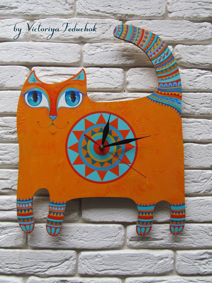 """Handmade wall clock """"Red cat"""" by VictoriasArtLab on Etsy"""
