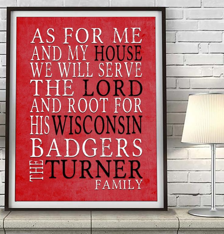 "Wisconsin Badgers personalized ""As for Me"" Art Print"