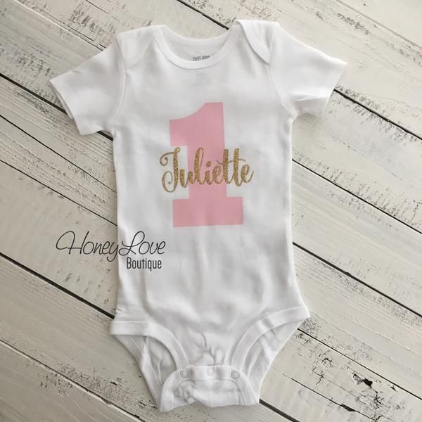6435d406 Personalized NAME - number 1 one light pink SILVER or GOLD glitter shirt  bodysuit, First Birthday, 1st Cake Smash baby girl infant toddler, baby  girl 1st ...