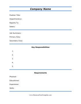 this free printable job description template is great for employers to fill out and provide. Black Bedroom Furniture Sets. Home Design Ideas