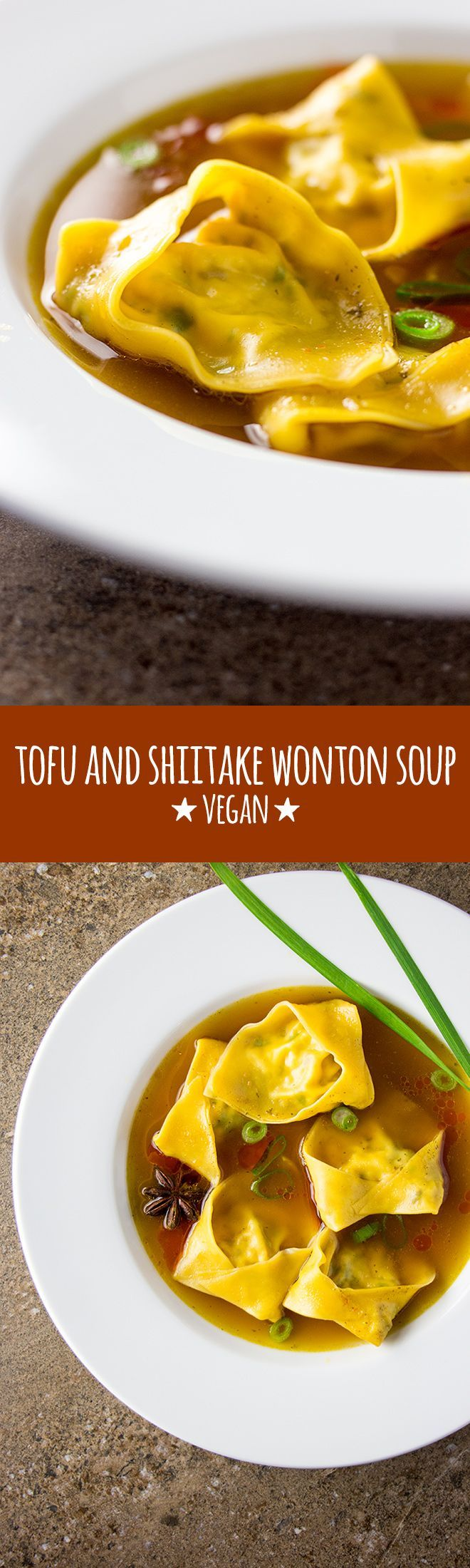 Wonton soup with homemade tofu and shiitake mushroom wontons, swimming in a rich…
