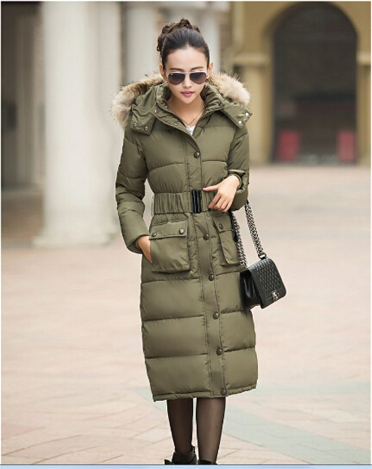 Cotton Padded Jacket Faux Fur Collar Hooded Long Slim Thick